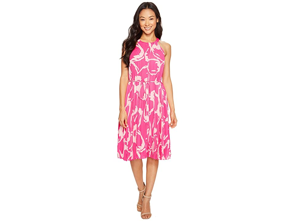 Vince Camuto Specialty Size Petite Cut Out Floral Pleated Belted Halter Dress (Electric Pink) Women