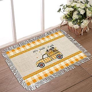 """Doormat for Outdoor Entrance 18""""x30"""" Non Slip Rubber Back Tassel Front Door Rugs for Indoor Featured Pumpkins On Orange Pi..."""
