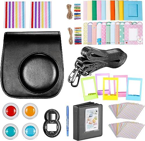 adesivi Set di 9 accessori per fotocamera istantanea Fujifilm Instax Mini 9//8//8+ custodia // 2 mini album // obiettivi per selfie 6 filtri colorati cinghia da collo SAIKA cornici