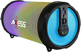AXESS SPBL1044 Vibrant Plus Black HIFI Bluetooth Speaker with Disco LED Lights In Blue