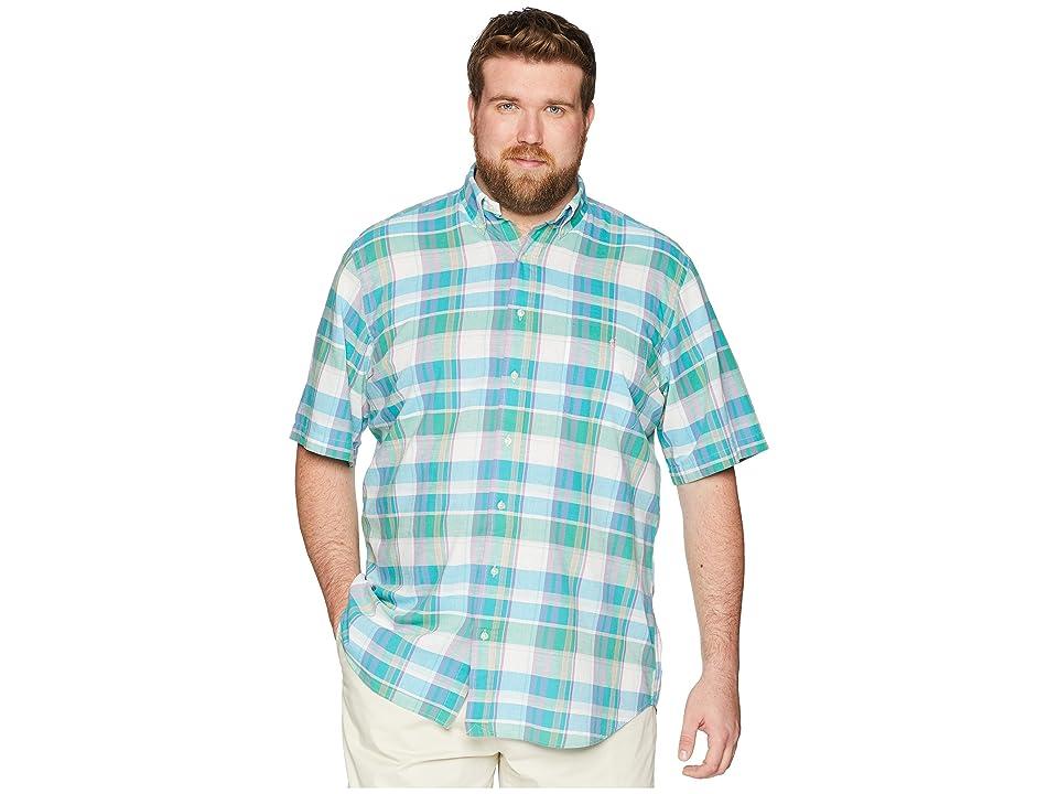 Polo Ralph Lauren Big Tall Madras Short Sleeve Sport Shirt (Turquoise/Green) Men