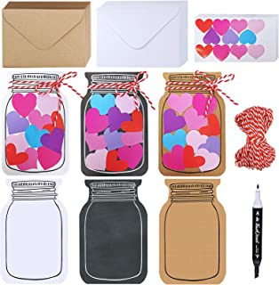 60 Sets Valentine's Day Cards with Envelopes Stickers Assortment 3 Styles of Blank Die-cut Jar Cardstock Note Cards with A...