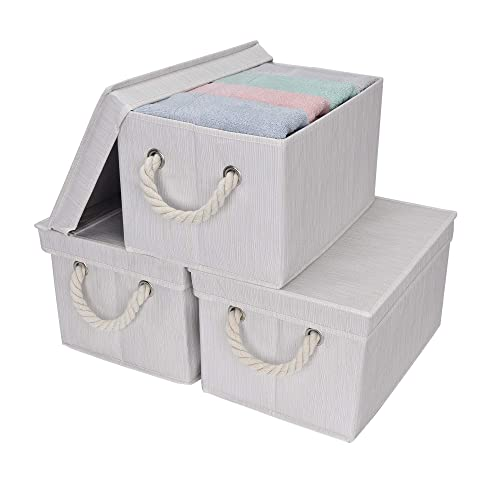 StorageWorks Storage Bins With Lid And Cotton Rope Handles, Foldable Storage  Basket, White,