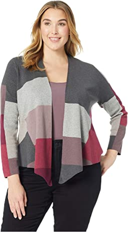Plus Size Rich Color Block Cardy