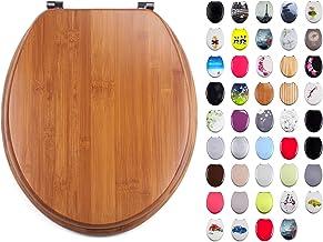 "MSV WC-bril toiletdeksel bamboe ""Bamboo"" scharnieren van roestvrij staal - hoogwaardige en stabiele kwaliteit"