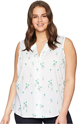 Plus Size Sleeveless Button Detail Top