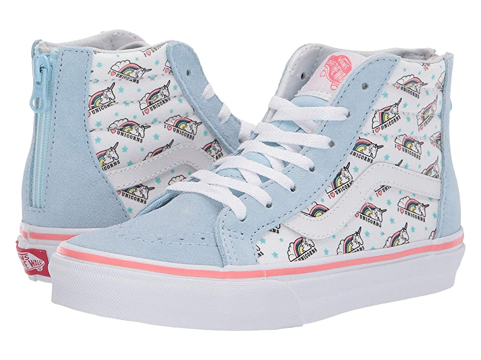 Vans Kids Sk8-Hi Zip (Little Kid/Big Kid) ((Unicorn) Cool Blue/True White) Girls Shoes