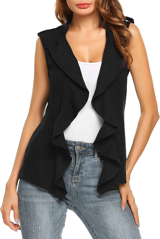 Beyove Women's Casual Sleeveless Belted Jacket Open Ruffle Front Cardigan Vest