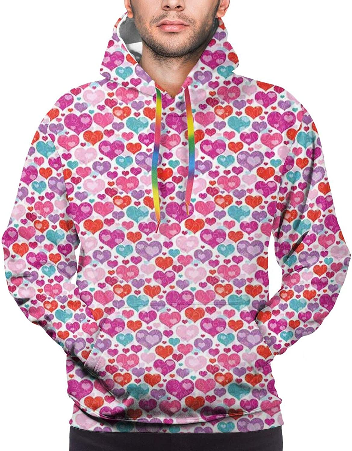 Men's Hoodies Sweatshirts,Love Themed Colorful Pattern with Nested Hearts On Plain Backdrop Lovely