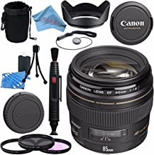 Canon EF 85mm f/1.8 USM Lens 2519A003 + 58mm 3pc Filter Kit + Lens Cleaning Kit + Lens Pouch + Lens Pen Cleaner + 58mm Tulip Lens Hood + Fibercloth Bundle