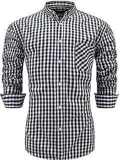 GoldCut Men 100% Cotton Slim Fit Long Sleeve Button Down Plaid Dress Shirt