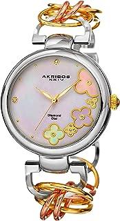 Akribos XXIV Women's Lady Diamond Watch - 14 Genuine Diamonds On a Mother-of-Pearl Dial with Chain Link Bracelet Watch - AK645