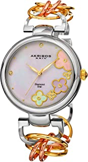Akribos XXIV Women's Gold and Silver Diamond Jewelry Watch - White Mother of Pearl Dial with Applied Flowers - Luminous Hands - Link Chain Bracelet - AK645