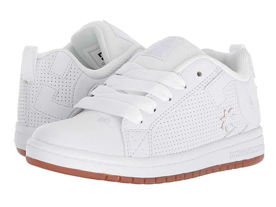 DC Kids Court Graffik (Little Kid/Big Kid) (White/White/Gum) Boys Shoes