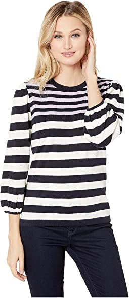 Long Sleeve Jersey Striped Pullover Sweater