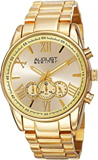 August Steiner Men's Multifunction Chronograph Watch - Sunburst Dial with 60 Second, 30 Minute, and 24 Hour Subdial on Yel...