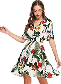 Milumia Women s Boho Button Up Split Floral Print Flowy Party Dress 0955d54314e6