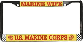 U.S.M.C United States Marine Corps Zinc Metal License Plate Frame Car Auto Tag Holder Chrome 4 Holes
