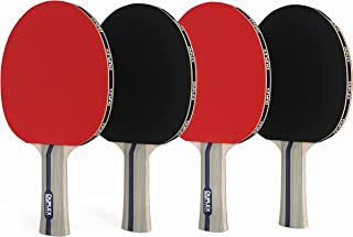 Duplex | Ping Pong Paddle Set of 4 - Best Professional Table Tennis Racket with High Performance Rubber - Wooden Blade with Long Handle