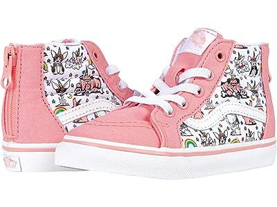Vans Kids Sk8-Hi Zip (Infant/Toddler) ((Puppicorns) True White/Flamingo Pink) Girls Shoes