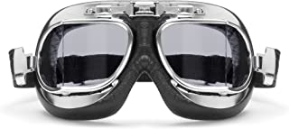 Vintage Motorcycle Goggles with Antifog and Anticrash Squared Lenses - Chromed Steel Frame- by Bertoni Italy - AF193CRS Mo...