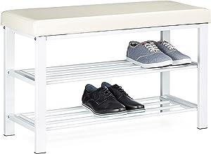 Relaxdays Scarpiera/Mobile scarpiera, portascarpe con ripiano e seduta imbottita, con le seguenti misure H X B X T: 49 x 81 x 32 cm, con spazio fino a 10 paia di scarpe e due ripiani, colore bianco
