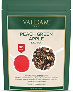Sponsored Ad - VAHDAM, Peach Green Apple Iced Tea | 7.06 Oz , 40 Servings | 100% Natural Ingredients | Delicious Flavor of...