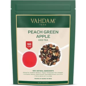 VAHDAM, Peach Green Apple Iced Tea   7.06 Oz , 40 Servings   100% Natural Ingredients   Delicious Flavor of Oolong Tea & Tropical Fruits   Peach Iced Tea   Iced Tea Loose Leaf