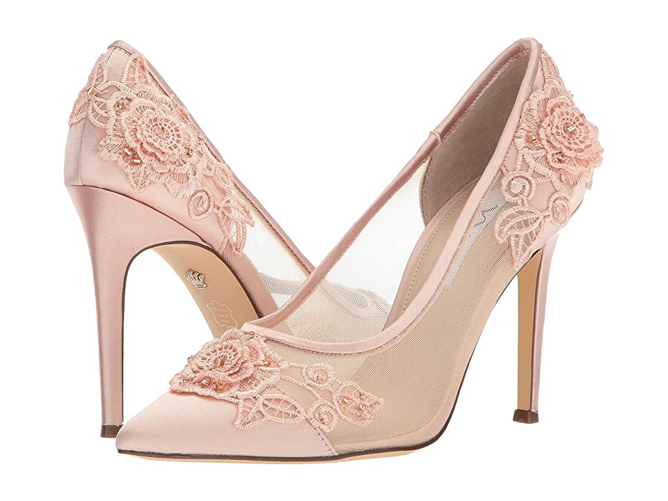 Nina Donela (Blush Crystal Satin/Rose Applique/Mesh) High Heels