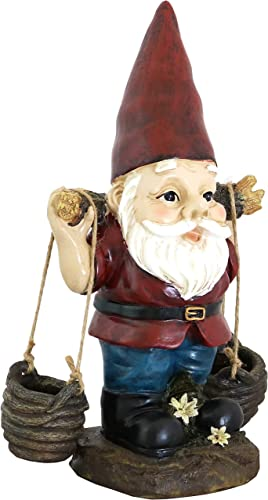 high quality Sunnydaze Peter with online a Pair of Pails Gnome Statue - Outdoor, Lawn and Garden Decoration Sculpture - Contemporary Design - Durable Resin online Construction - 14-Inch sale