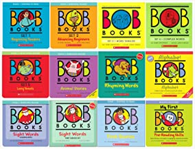 Bob Books Complete Sets Collection (12 Sets) - Set 1, 2, 3, 4, 5, Animal Stories, Rhyming Words, Alphabet, Sight Words Kindergarten, Sight Words First Grade, First Stories, Pre-Reading Skills