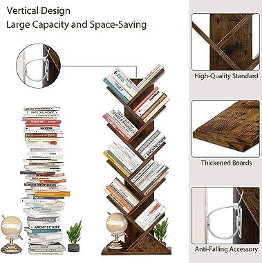 Tree Bookshelf, Topfurny 9-Tier Shelf Rustic Brown Bookcase, Retro Wood Storage Rack for CDs/Movies/Books, Anti-Fall Utility