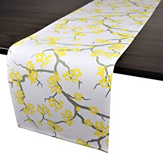 Crabtree Collection Deluxe Cotton Table Linens, Bright Colors for Kitchens and Dining Rooms - (Blossom Yellow/Gray Runner)