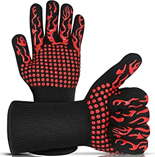 """BYETOO BBQ Grill Gloves,1472°F Extreme Heat Resistant Oven Gloves for Cooking,Baking,Cutting,Smoker,14"""" Extra Long Silicon..."""