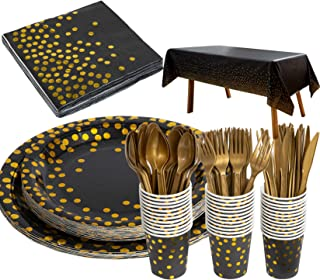 176 Pieces Gold Disposable Party Dinnerware Set &Golden Dot Disposable Party Dinnerware - Black Paper Plates Napkins Cups,...