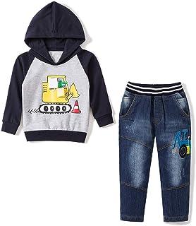 53bc8d186 Baby Love Toddler Boys Clothes Outfit Truck Applique Hoodie Denim Jeans  2PCS Set