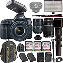 Canon EOS 5D Mark IV DSLR w/EF 24-105mm f/4L II USM Lens +Canon EF 75-300mm+ RODELink Filmmaker Kit Wireless Omni Lavalier Microphone System + Professional Bi-Color LED Video Light & Accessories
