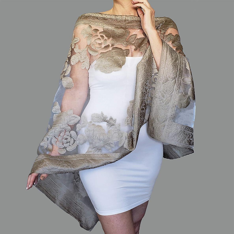 Plus Size Pewter Wrap Grey Wedding Shawl Sheer White Stole By ZiiCi