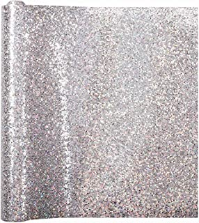 Meneng Mesh Shiny Superfine Glitter Fabric Faux Leather Sheets,9''x 53''DIY Craft Leather for Handmade Jewelry (Silver)