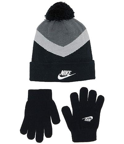 Nike Kids Pom Beanie and Gloves Two-Piece Set (Big Kids) (Black) Snowboard Gloves