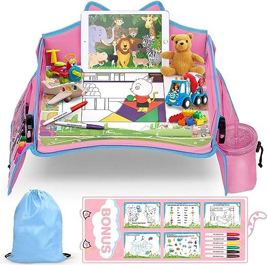 lenbest Kinder Reisetisch, Riesenrad Hintergrund Knietablett Reisetisch und Faltbare Einstellbar Esstisch Spieltisch, mit Bonus für 1…