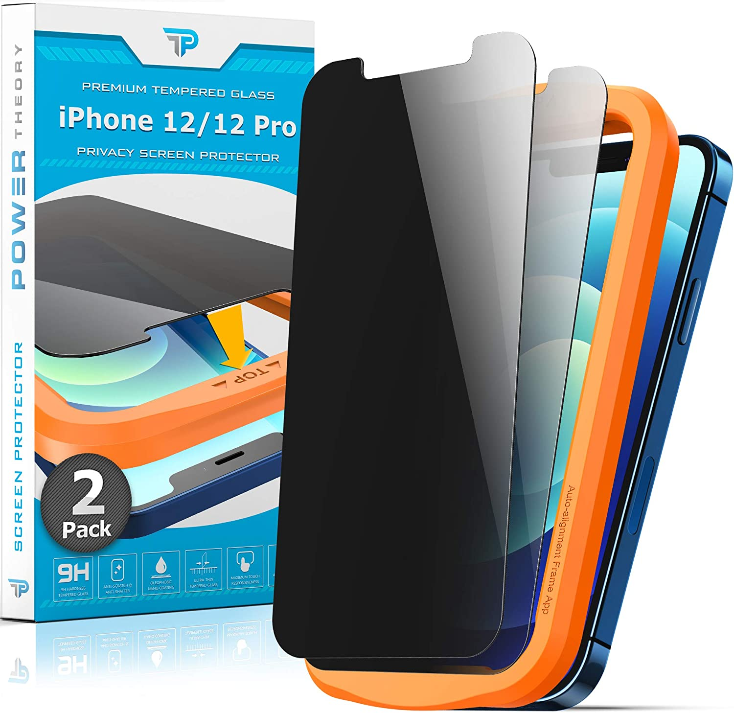 Power Theory Privacy Screen Protector for iPhone 12/iPhone 12 Pro Tempered Glass [2-Pack] Anti-Spy protection with Easy Install Kit [Case Friendly][6.1 Inch]