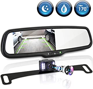 """Rear View Backup Camera System - Parking Reverse Car Vehicle Rearview Back Up w/ 4.3"""" LCD Mirror Monitor Kit, Distance Scale Lines, Tilt Adjustable Cam Angle, Mounts on License Plate - Pyle PLCM4565"""