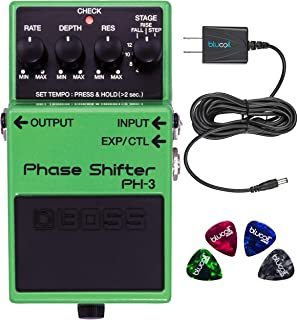 BOSS PH-3 Phase Shifter Shifting Pedal with Tap Tempo Bundle with Blucoil Power Supply Slim AC/DC Adapter for 9 Volt DC 670mA and 4 Guitar Picks