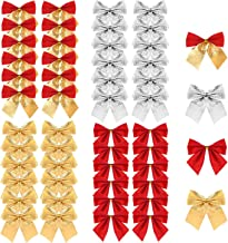 Christmas Ribbon Bows Ornaments, TERSELY 48 Pieces Christmas Ribbon Bows Ornaments Xmas Tree Bowknot Decoration Presents W...
