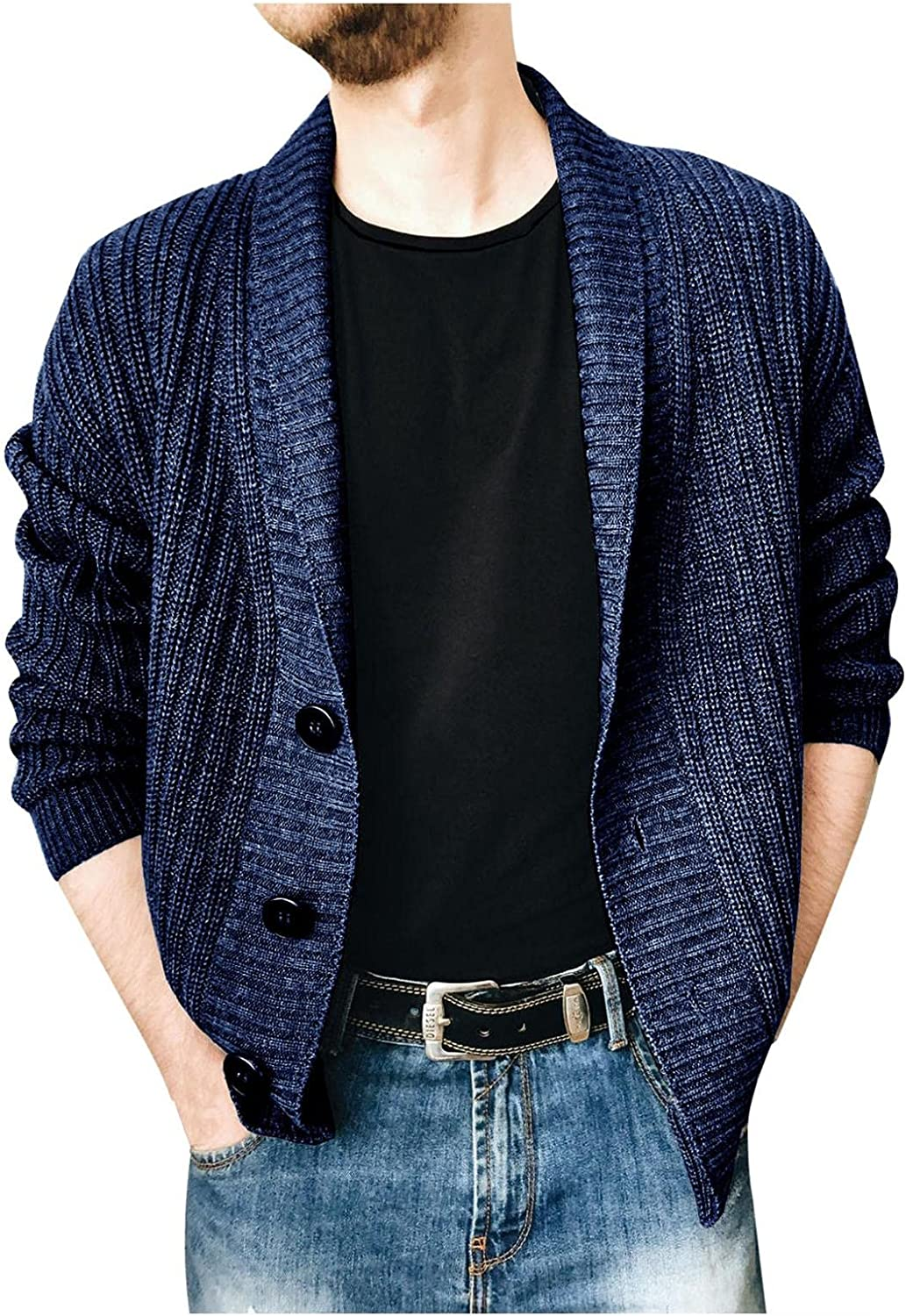 Mens Cardigan Sweater Casual Slim Fit V-Neck Cable Knitted Sweaters with Front Button Outwear