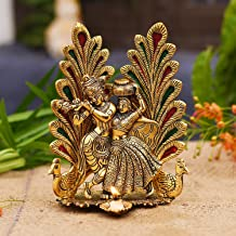 Collectible India Metal Gold Plated Radha Krishna Idol Statue with Diya Peacock Design Hindu Religious Radha Krishan Showp...