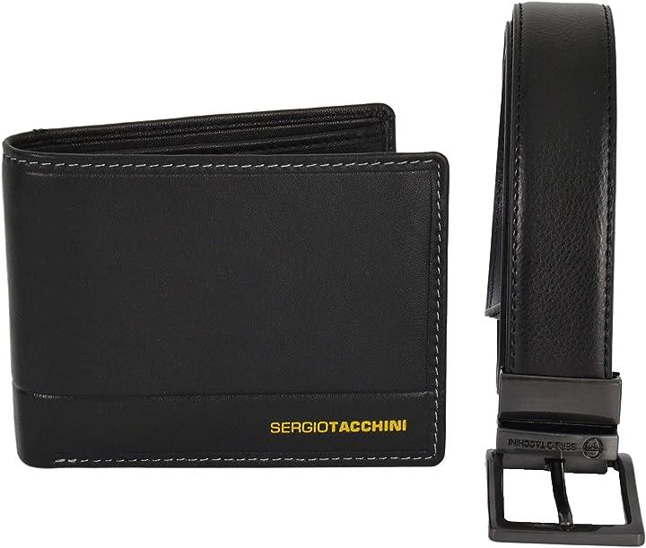 Sergio tacchini cofanetto regalo uomo,cintura reversibile e portafoglio in pelle (nero) B07YVB7V3M
