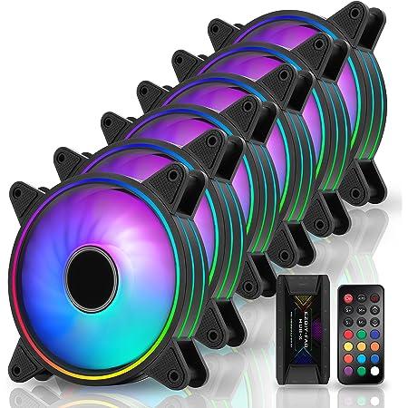 EZDIY-FAB Moonlight Ventilateur de Boîtier RGB 120mm avec Hub Ventilateur et Télécommande,Carte Mère Aura Sync,Contrôle de Vitesse,Ventilateur Adressable pour Boîtier PC-6 Pack