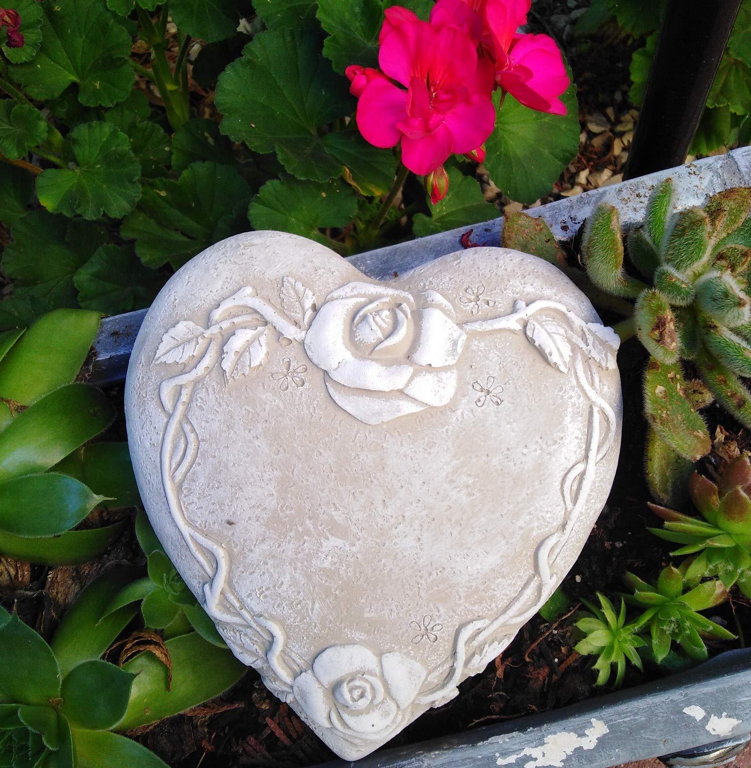 Radami Corazón para Tumba con Rosas, decoración para Tumba, Piedra Conmemorativa, corazón de jardín, Gris/Blanco, 14, 5 cm: Amazon.es: Jardín